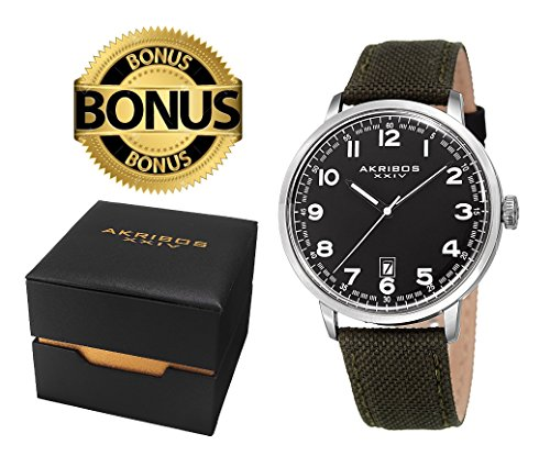 Akribos XXIV Men's AK1025SSBK Black, Silver & Olive Green Canvas Leather Strap Watch