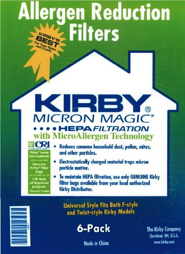 Kirby Part#204808 - Genuine Kirby Style F HEPA Filtration Vacuum Bags for Sentria Models - 6/Package, Sentria®, for units built on 2009 and later.
