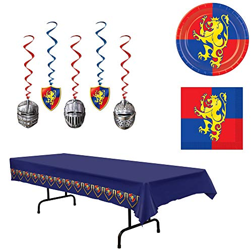 (Medieval Knight Castle Plates Napkins Tablecover Dangling Whirls 38 Piece Bundle)