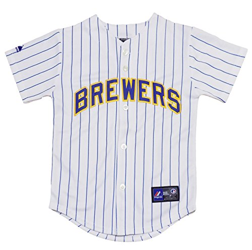 OuterStuff Milwaukee Brewers Blank White Stripe Youth Authentic Alternate Jersey (Small 8)
