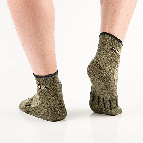 YingDi Copper Socks Moisture Wicking Anti-microbial Ankle Sport Socks Size L Green With Black Welt Pack of 4 pairs by yingDi (Image #4)
