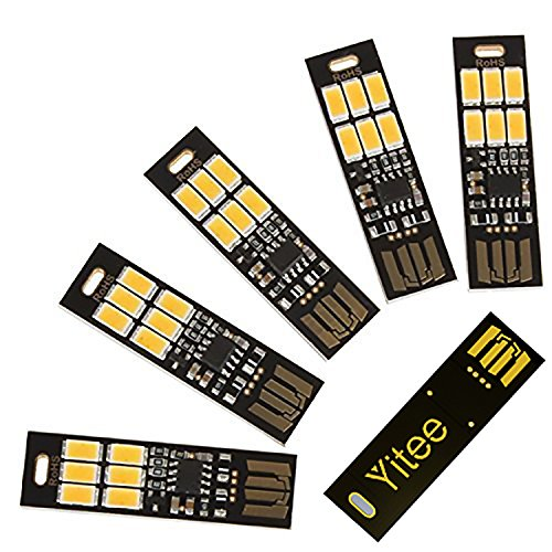 Yitee USB Light Keychain Super Bright SMD LED Mini USB Port Light Ultra-thin Portable Night Light (6-LED Touch Dimmer Switch(5pcs)) (Led Lamp Usb)