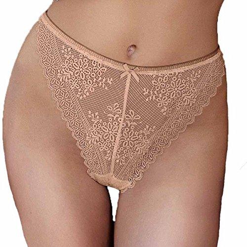 Cupcake Panty Women's High Leg Brazilian Thong Sexy Lace Lingerie (Small, Black/Ivory/Nude)