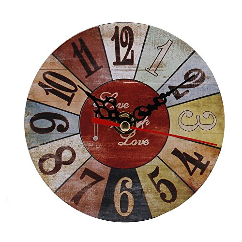 REYO Vintage Wall Clock Style Non-Ticking Silent Antique Wood Wall Clock for Home Kitchen Office (E)