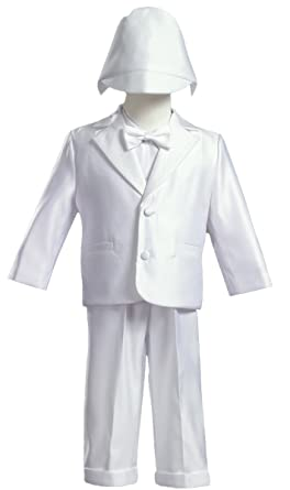 3b57934c8 Image Unavailable. Image not available for. Color: White Satin Christening  Baptism Tuxedo ...
