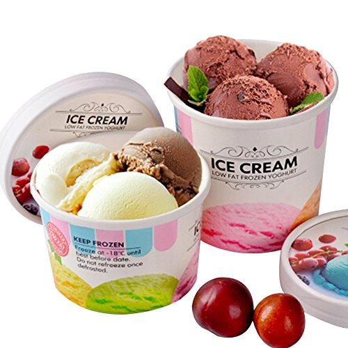 Giveme5 Premium 50 Pack Ice Cream Paper Cups + 50 Pack Paper Lids Set for Hot Soups, Ice Cream, Fruit Coctails, Frozen Dessert Containers - 12 oz (12 OZ, 50pcs)