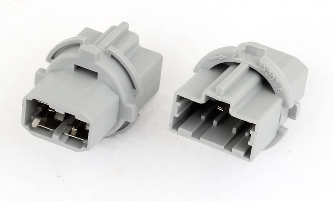 uxcell 2pcs Gray Plastic 3 Pin T20 Turn Signal Brake Light Socket for Car