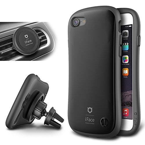 - iFace Duo Case and Magnetic Car Mount set for iPhone 7-2 in 1 Rugged Military Grade Protective Case with Car Holder/Kickstand [Space Black]