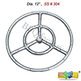 bbq factory® Stainless Steel Fire Pit Burner Ring, 12-Inch dia, SS #304
