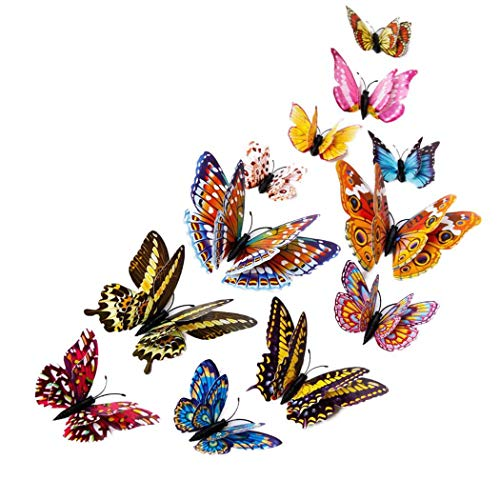 Youcoco 12 PCS 3D Luminous Butterfly Wall Stickers Home Room Art DIY Decorations (1)