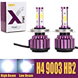 Automotive : H4 9003 HB2 LED Headlight Bulbs 20000LM 200W 6000K Cool White High Low Dual Beam 360 Degree 4 Side COB Chips Super Bright All-in-One Auto Headlamps Conversion Kit Plug & Play – 2 Yr Warranty