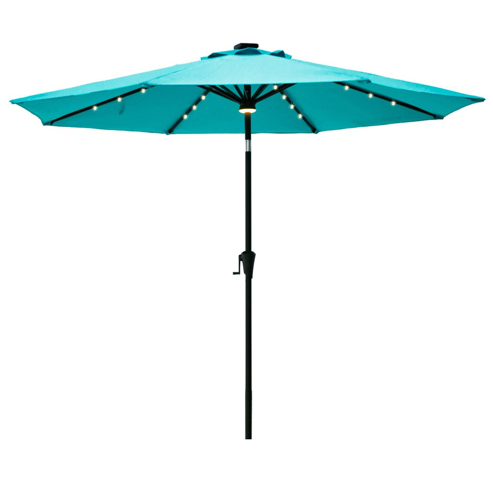 C-Hopetree 9' Patio Umbrella with Solar LED Lights, 8 Rib Outdoor Patio Market Umbrella with Crank Winder, Auto Tilt, Aqua Blue