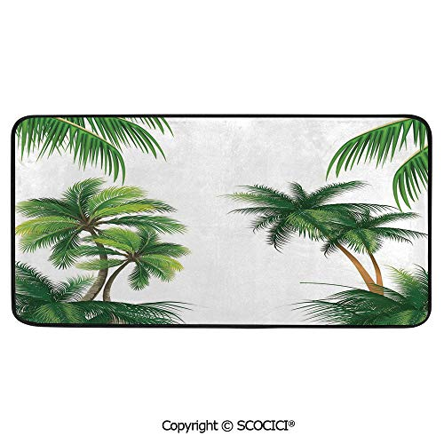 - Rectangular Area Rug Super Soft Living Room Bedroom Carpet Rectangle Mat, Black Edging, Washable,Tropical,Coconut Palm Tree Nature Paradise Plants Foliage Leaves,39