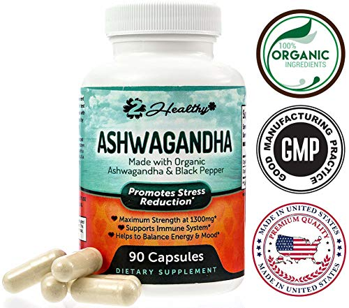 Organic Ashwagandha Root Powder Extract of Black Pepper Anxiety Relief, Thyroid Support, Cortisol & Adrenal Support, Anti Anxiety & Adrenal Fatigue Supplements 90 Veggie Capsules