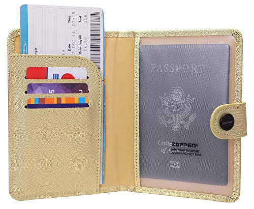 Zoppen Rfid Blocking Travel Passport Holder Cover Slim Id Card Case (#13 Champagne)