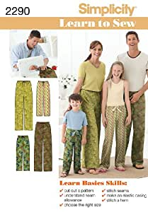 Simplicity 2290 - Patrones de costura para pantalones infantiles y de adulto (XS - L / XS - XL)