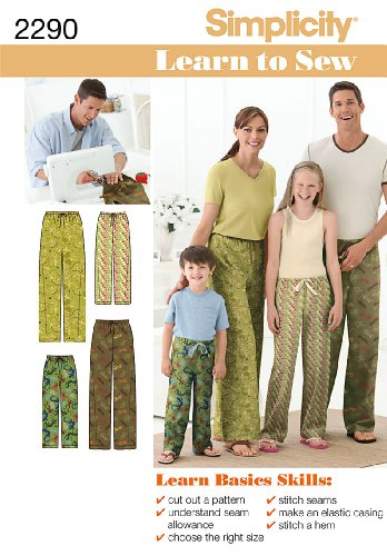 Simplicity Sewing Pattern 2290 Child's, Teens' and Adults' Pants, A (XS - L / XS - XL) (Pants Pajama Sewing)