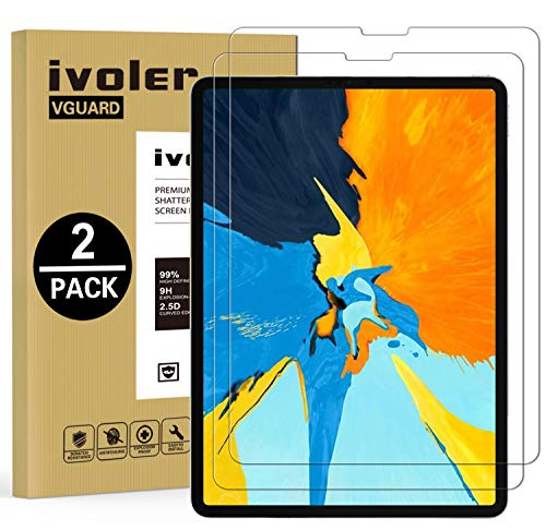 (2-Pack) iPad Pro 12.9 Screen Protector Glass 2018,[Face ID & Apple Pencil Supported] iVoler Anti-GlareTempered Glass Screen Protector for Apple iPad Pro 12.9 (2018 Release Model)