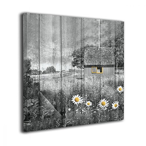 Okoart Canvas Wall Art Prints Rustic Farmhouse Country Barn Landscape Daisy Flowers Yellow Gray Photo Paintings Contemporary Decorative Artwork for Living Room Wall Decor and Home Decor (Pictures Room Living Country)
