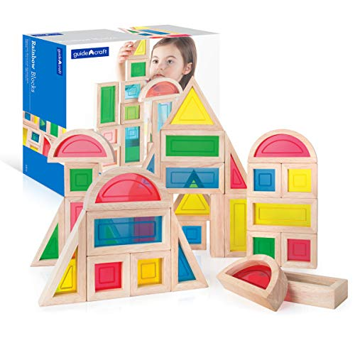 Guidecraft Rainbow Blocks Set - 30 Pcs. Kids Learning & Educational Toys, Stacking Blocks