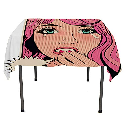 Flyerer Retro Dinning Table Covers Desperate and Distraught Woman Character Crying Pop Art Sixties Comic Book Style Multicolor Waterproof Table Cloth Rectangular Tablecloth 52 by 70 inch -