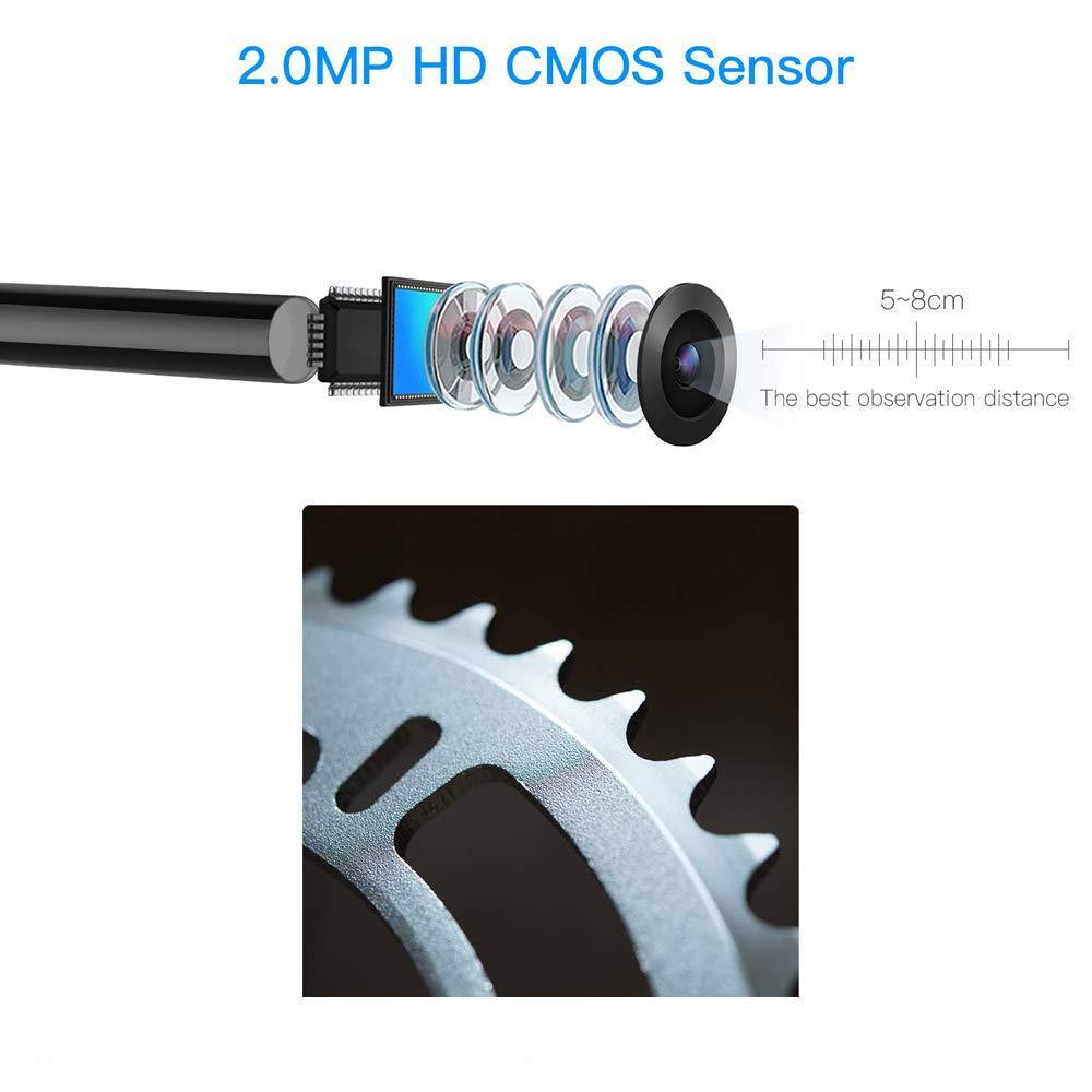 16.4 pies 5 m HD boroscopio Impermeable USB endoscopio c/ámara para Android Endoscope 3 en 1 USB//Micro USB//Type-C c/ámara de inspecci/ón Windows /& MacBook OS computadora