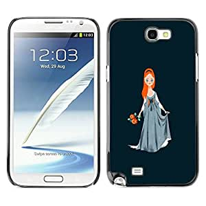 Slim Design Hard PC/Aluminum Shell Case Cover for Samsung Note 2 N7100 Princess Red Hair Girl Ball Gown Art Drawing / JUSTGO PHONE PROTECTOR