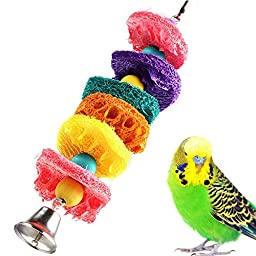 New Colorful Bird Toy Parrot Cage Toys Natural Loofah Hands Chew Toy Bite-resistant Handmade Parrot Toys Small
