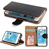 iPhone 5S Case, iPhone 5 Case - SOWOKO iPhone SE Leather Wallet Case Slim Flip Case, Shockproof Protective Phone Cover for Apple iPhone 5S/5/SE (Black)