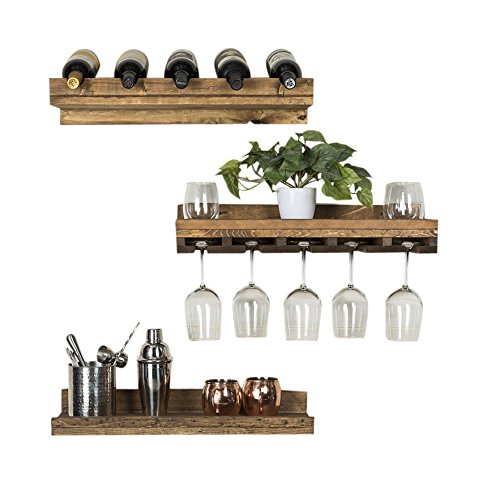 del Hutson Designs – Rustic Luxe Floating Wine Shelf & Glass Rack Set, USA Handmade, Pine Wood, Set of 3 (Dark Walnut)