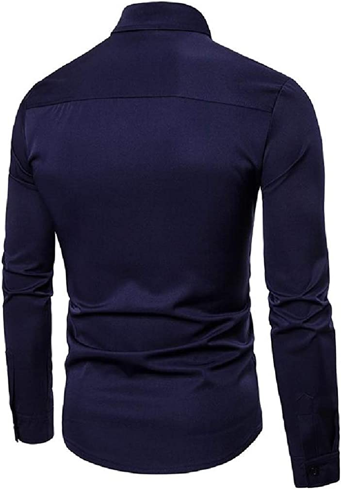 Sweatwater Men Solid Lapel Neck Hollow Curved Hem Button Down Shirts