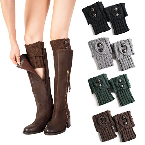UClever-Women-Leg-Warmer-Topper-Cuff-Crochet-Knit-Boot-Socks-with-Buttons-4-Pairs