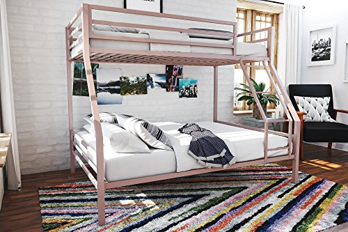 Novogratz Maxwell Twin/Full Metal Bunk Bed, Sturdy Metal Frame with Ladder and Safety Rails, Pink