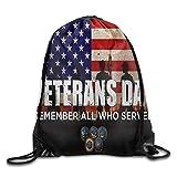 Retro Veterans Day Waterproof Drawstring Bag Sport Backpack
