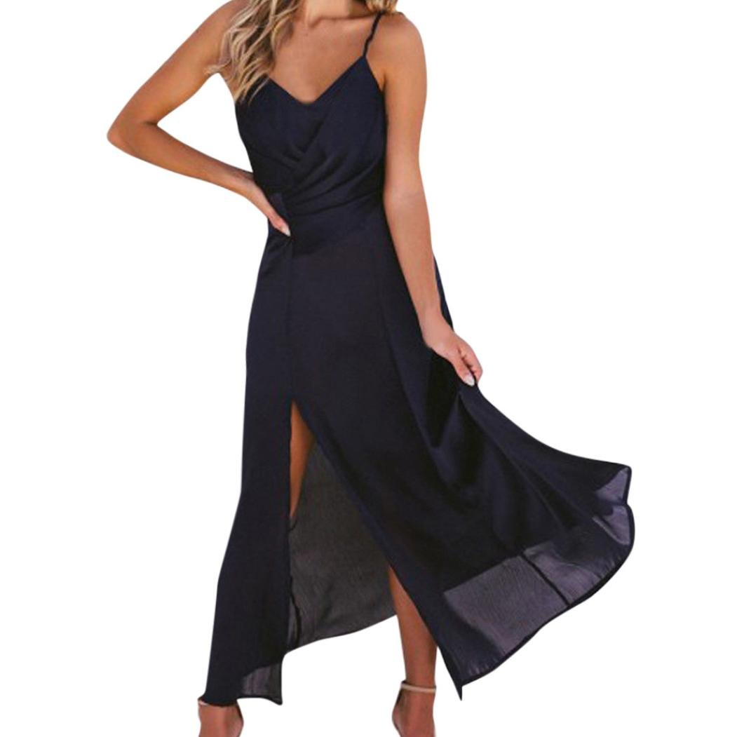 TiTCool Women's Women's Sexy Evening Party Sleeveless Split Casual Dress S-3XL (XL, Black)