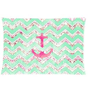 Little Sun 98 Mint & Pink Floral Zinzag Pattern With Anchor Pillowcase Standard Size 20x30£¨One Side£©Design Cotton Polyester Pillow Case