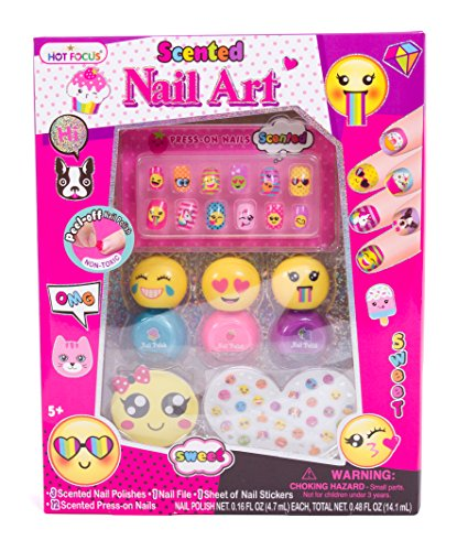 Hot Focus Scented Nail Art Kit- Emoji Girls Nail Kit Includes 12 Press on Nails, 3 Nail Polishes, 31 Nail Stickers and a Nail File - Non-Toxic Water Based Peel Off Nail Polish -