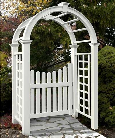 New England Nantucket Deluxe Arbor and Cottage Picket (Vinyl Arbor Gate)