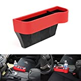 iJDMTOY (1) Red Leather Console Side Pocket Organizer, Car Seat Catcher w/ Cup Holder For Drinks, Key, Wallet, Phone, Sunglasses, etc
