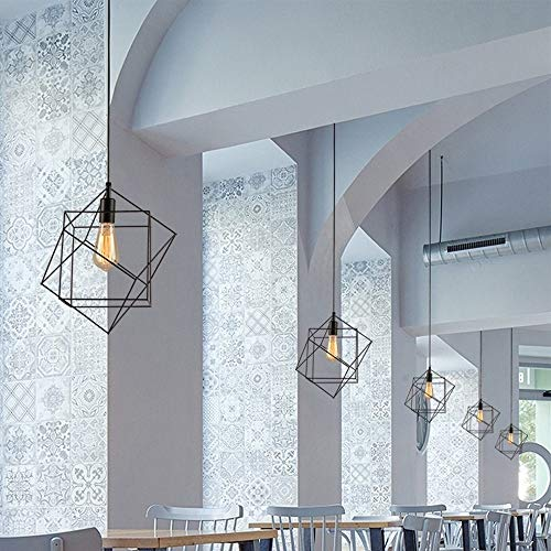 Three Geometric Light - LJX-marryjgo Art Single-Head Wrought Iron Chandelier Black cage Hanging Ceiling Light, Three-Dimensional Geometric Shape Suitable for Various Decorative Styles