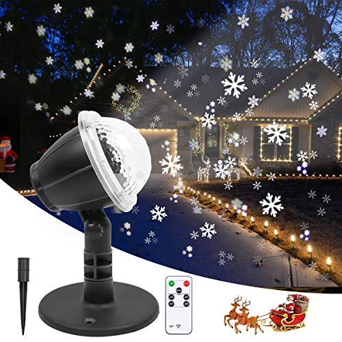 Snowflake Projector Lights Outdoor Christmas Projector Lights Waterproof Snowfall Projection with Remote Control, Decorative Holiday Projector Light for Xmas Christmas Holiday Wedding Party