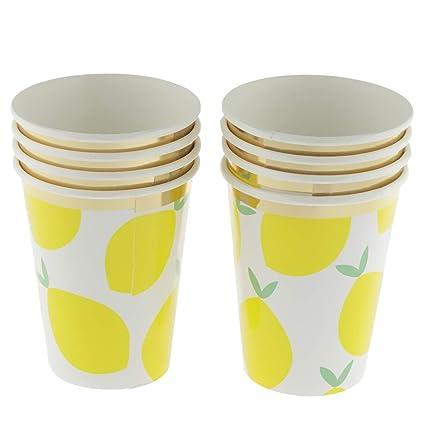 Amazon.com: Vasos desechables de papel de limón para ...