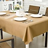 OstepDecor Premium Waterproof Tablecloth 100% Polyester Dinner Picnic Washable Table Cloth Home Decoration Solid Brown - Rectangle/Oblong, 60'' x 120''
