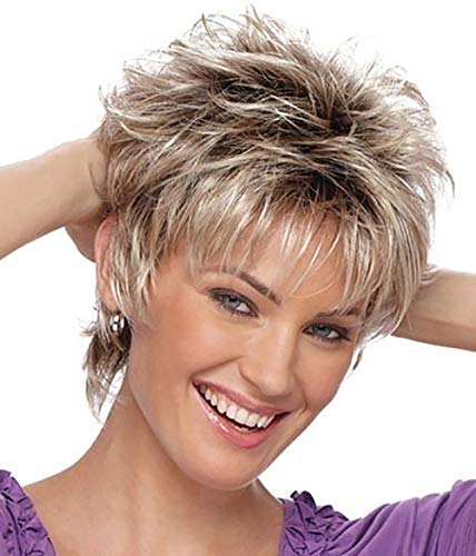 Clearance SaleDEESEETMFashion Wig Short Haircut Curly Color Gradient Wigs Short Hair Synthetic Wig