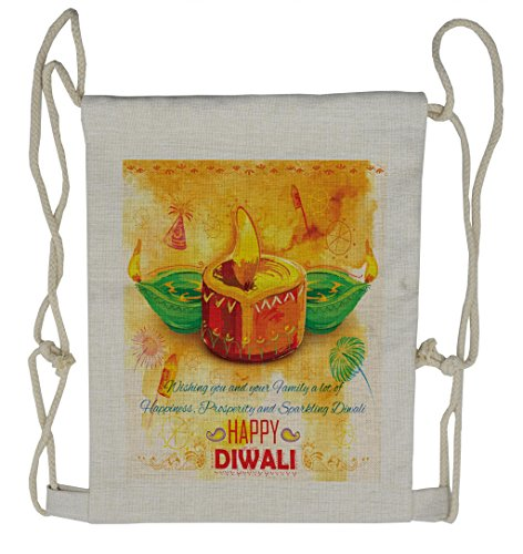 Lunarable Diwali Drawstring Backpack, Oil Painting Asian Party, Sackpack Bag by Lunarable