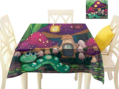 (WilliamsDecor Jacquard Tablecloth Mushroom,Worm Mushroom House Table Cloths Spill Proof W 50