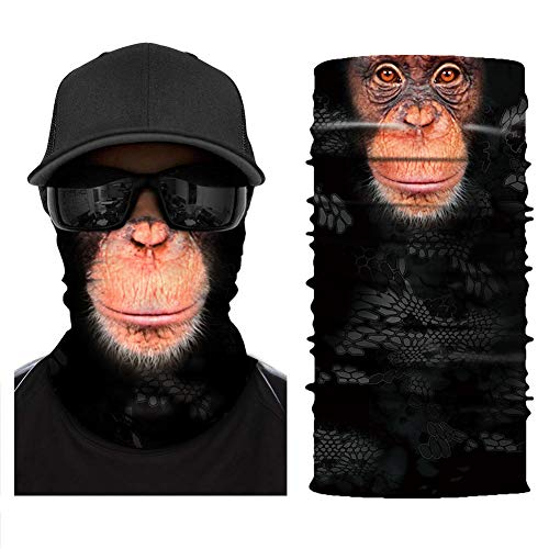 Ape Snowboard - [NEW STYLE]3D Animal Neck Gaiter Warmer Windproof Face Mask Scarf, Microfiber Multifunctional Headwear for Motorcycle Riding (Ape)