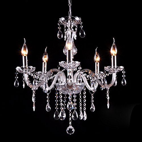Gracelove Modern Crystal Lamp Fixture Pendant 5 Lights Ceiling Chain Candle Chandel Chandelier by Love+Grace