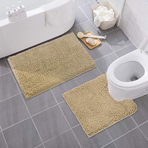 MAYSHINE Bathroom Rug Toilet Sets and Shaggy Non Slip Machine Washable Soft Microfiber Bath Contour mat (Beige,32″ 20″/20″ 20″ U-Shaped)