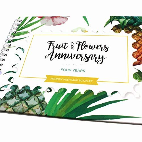Unique 4th Wedding Anniversary Memory Book with Stickers and A Matching Card - 5-Second Memory Journal for Your Special Fruits&Flowers Anniversary - The Perfect Keepsake Booklet for Special Memories (Best Fruit For Memory)